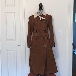 NWT BURBERRY EASTHEATH SUEDE SHERLING COAT
